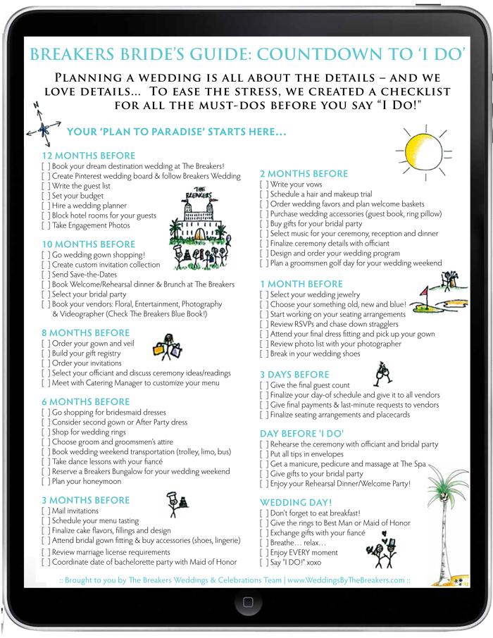 Wedding Checklist The Breakers Bride S Guide