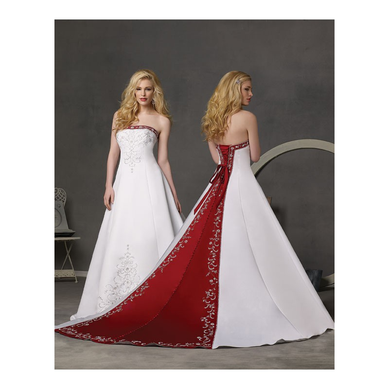 White And Red Wedding Gowns: White Wedding Dress With Red