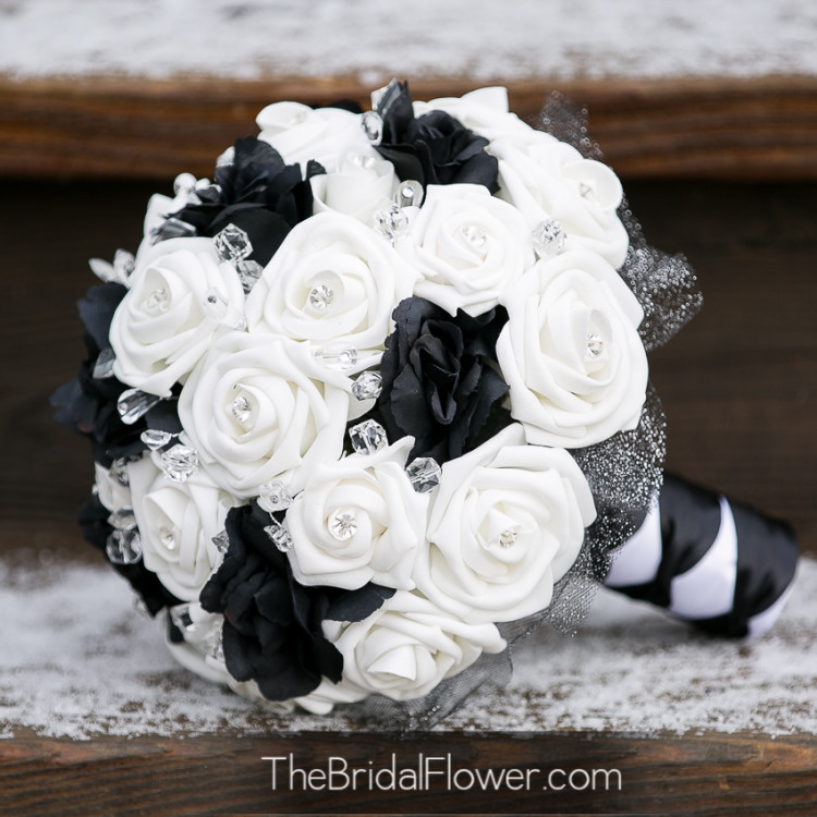 Wedding Flowers Black And White Silk