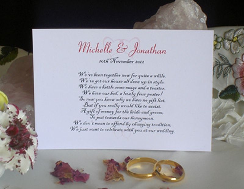Cash For Wedding Gift Poems : Wedding Poems For Invitations About Gifts
