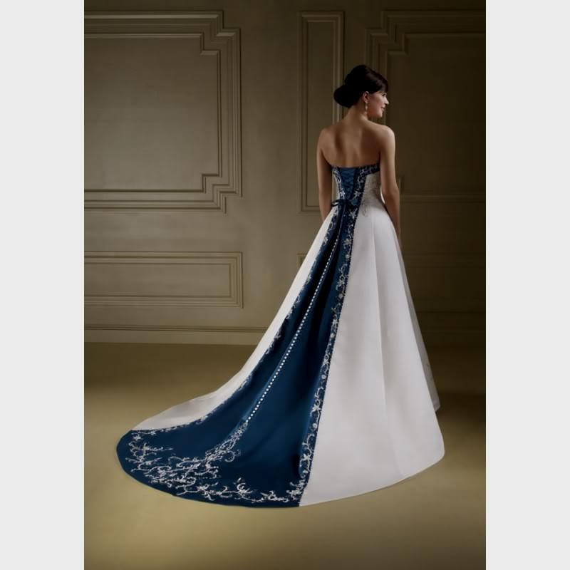Navy Blue And White Wedding Dress