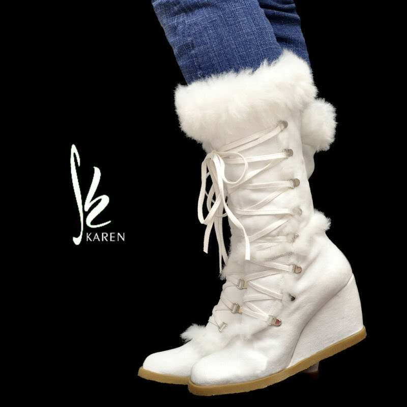 White Winter Boots Wedding