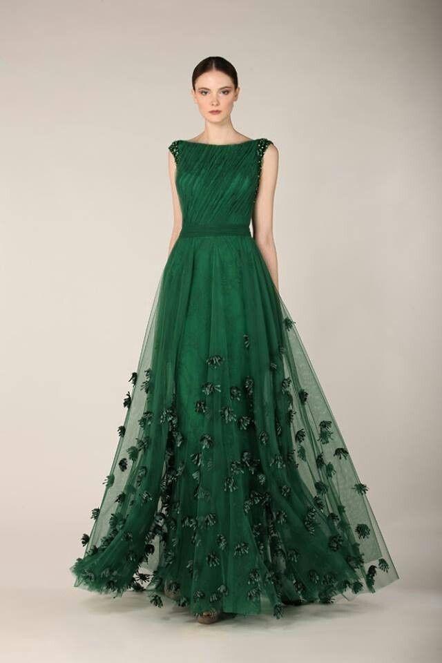 White And Emerald Green Wedding Dress