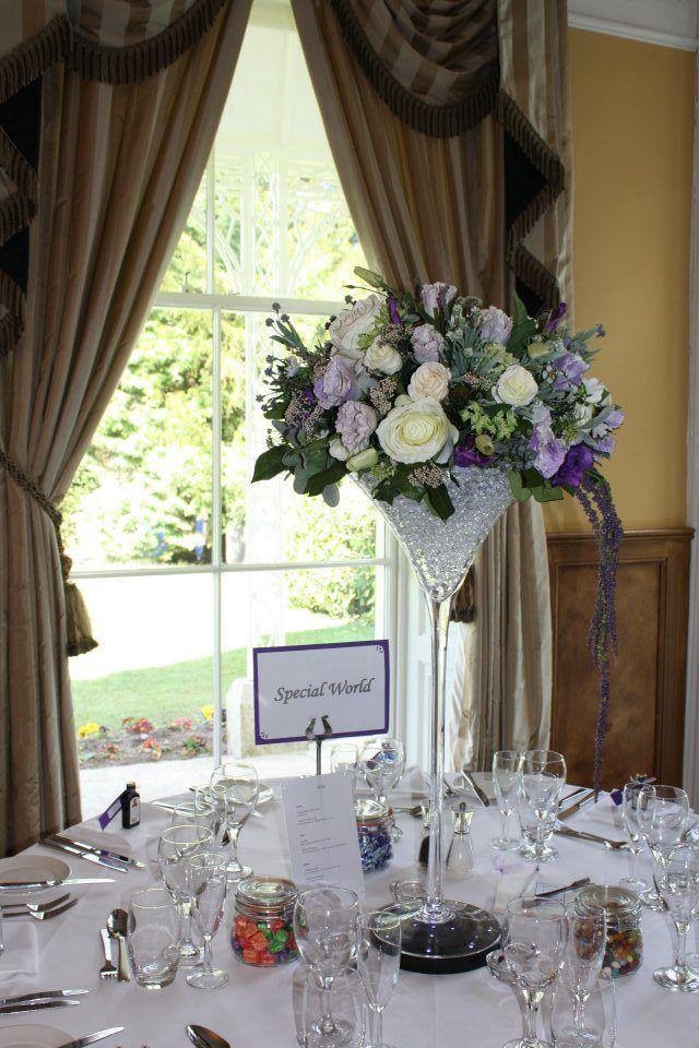 Glass wedding centrepieces