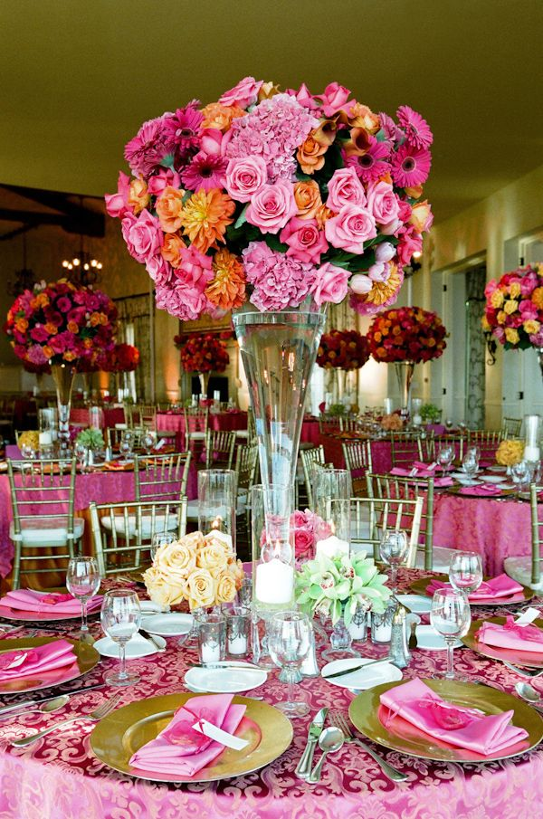 Pink centerpieces for weddings