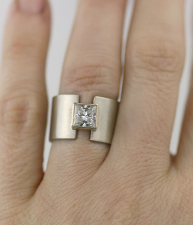 Wide Band Bezel Engagement Ring