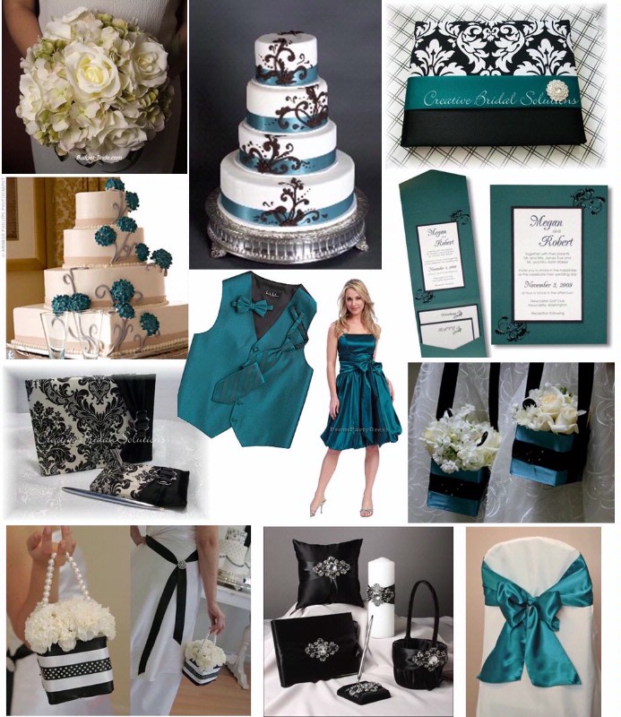 Teal And Black Wedding