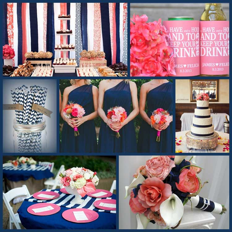 Navy Blue And Coral Wedding Decorations