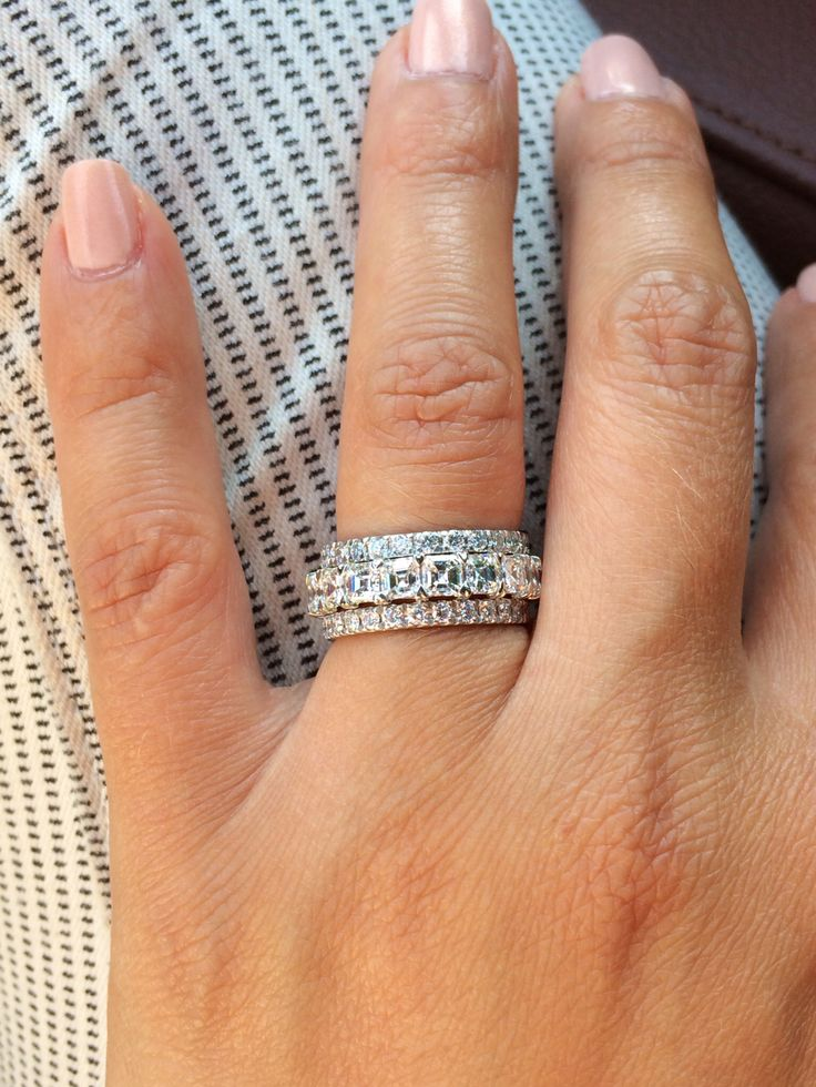 Stacked Eternity Wedding Bands
