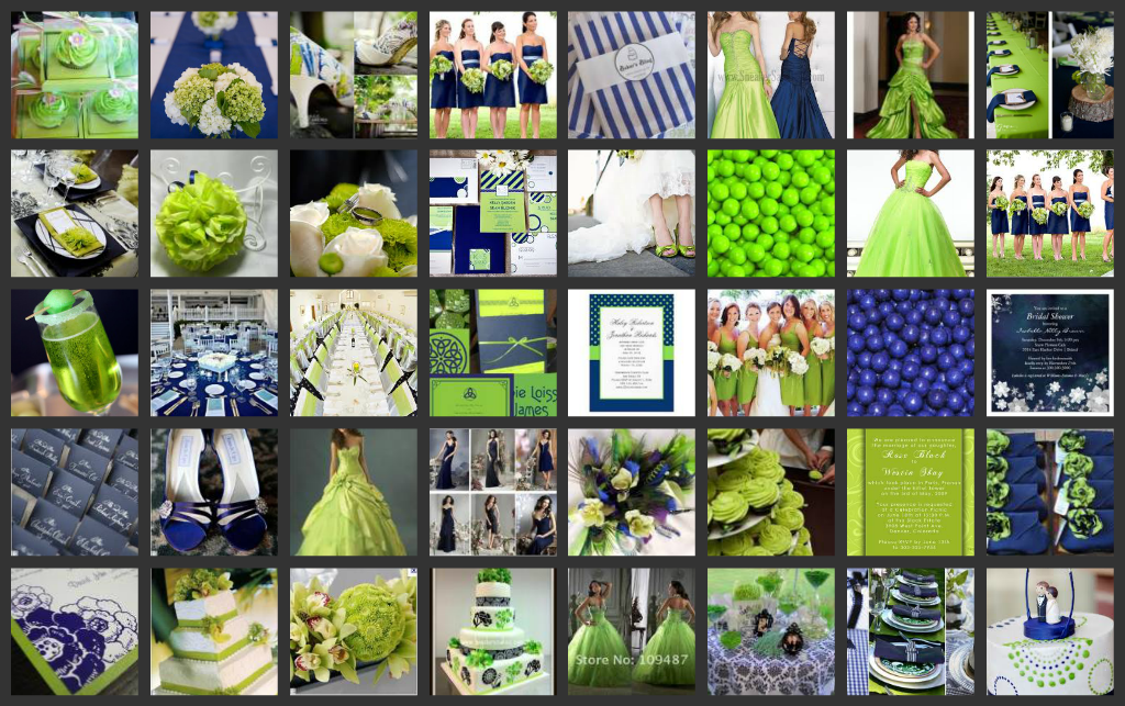Navy And Chartreuse Wedding