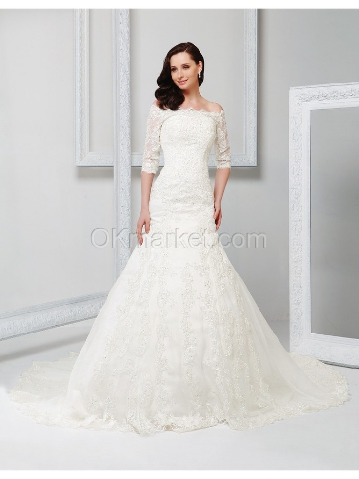 3 4 length lace wedding dress