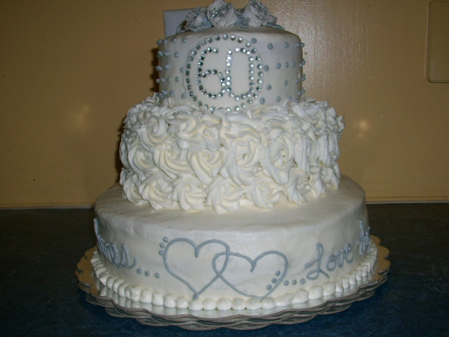 15 60th Anniversary 2 Tier Wedding Cakes Photo