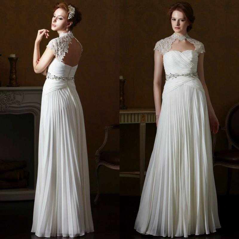 2015 Spring Beach Greek Goddess Wedding Dress Open Back
