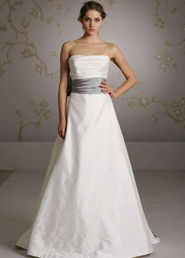 A Line Wedding Dresses With Sash Bow Bridal Tissue Taffeta
