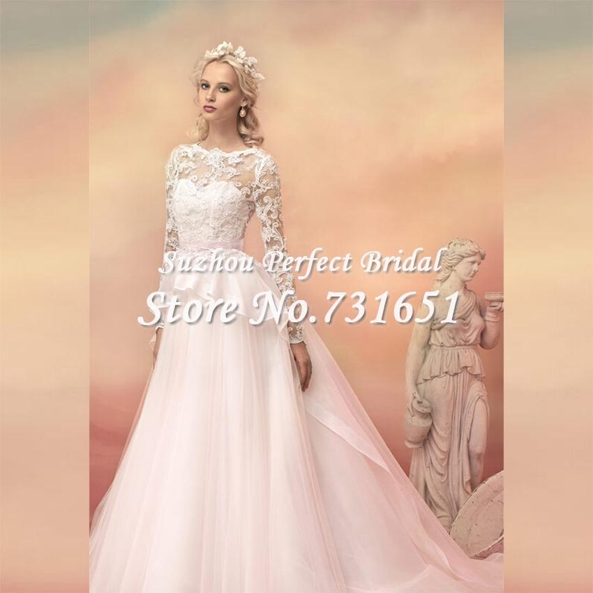 Vintage pink lace wedding dress
