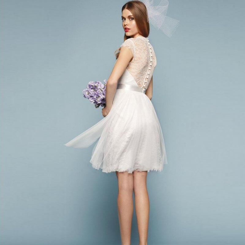 White Short Wedding Dresses  : Aliexpress com buy dynamic short white wedding dress v neck lace