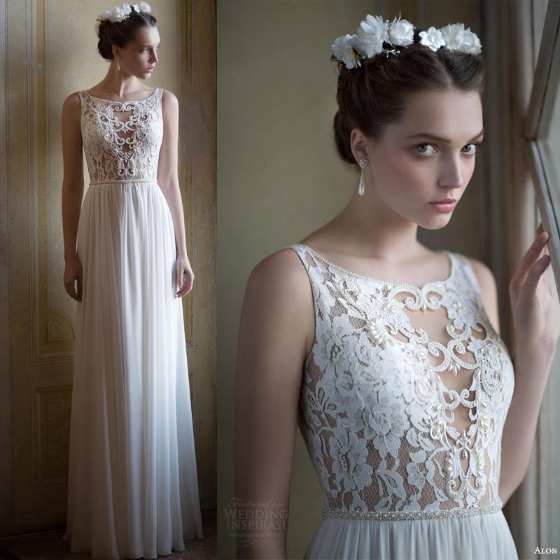 Sheer Lace Top Wedding Dress | Wedding