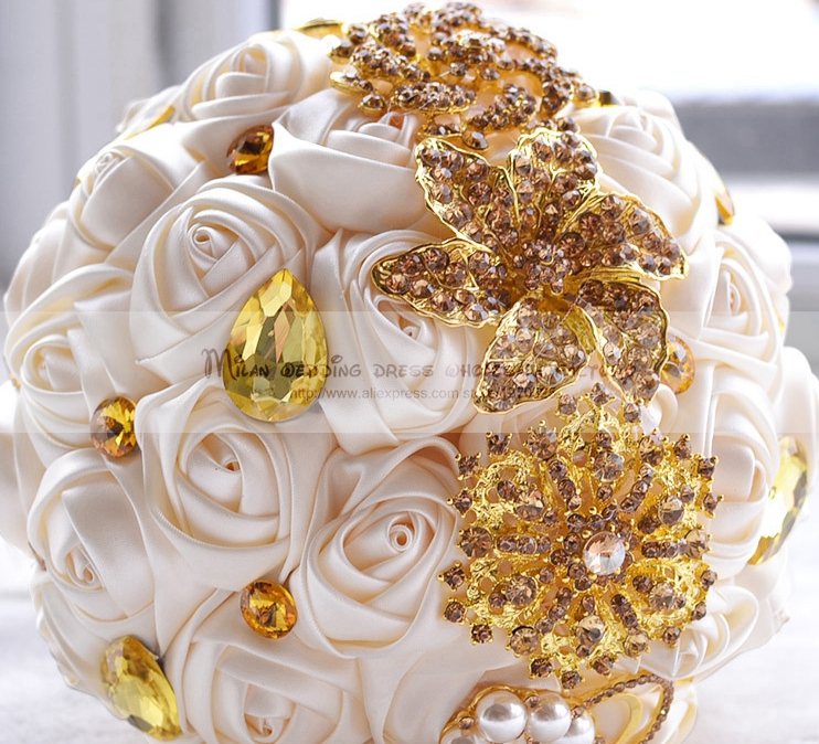 White And Gold Wedding Flowers: Gold And White Wedding Bouquets