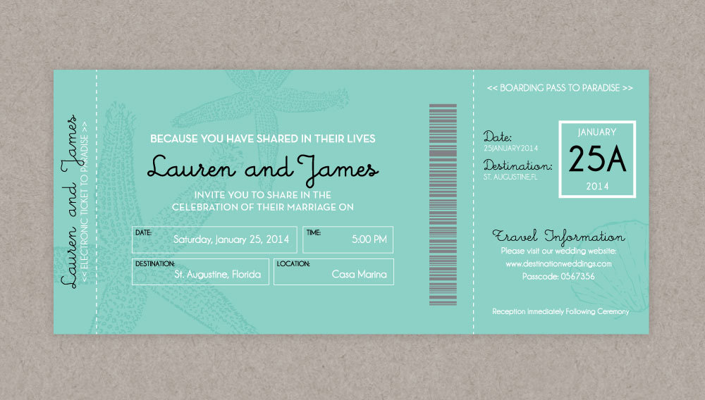 announce your destination wedding with boarding pass invitations - Boarding Pass Wedding Invitations