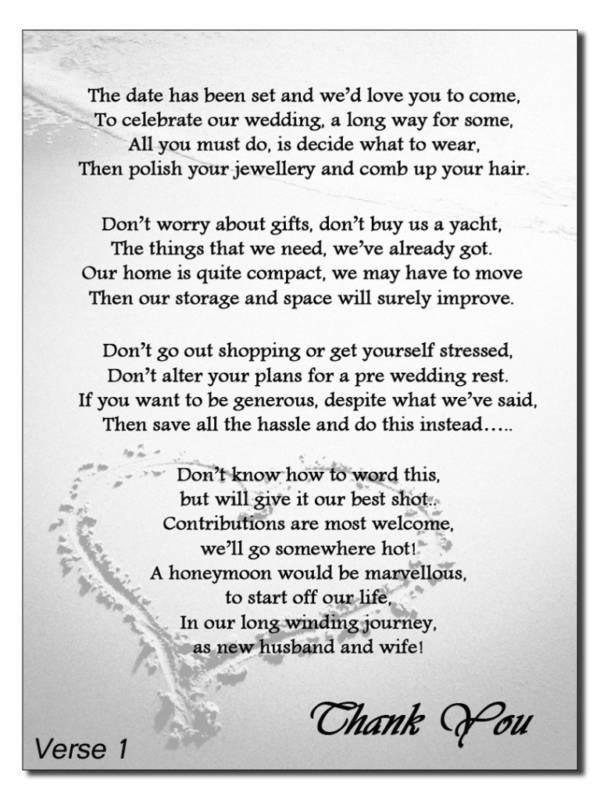 Poems For Wedding Gifts Money : Poems For Money Instead Of Wedding Gifts