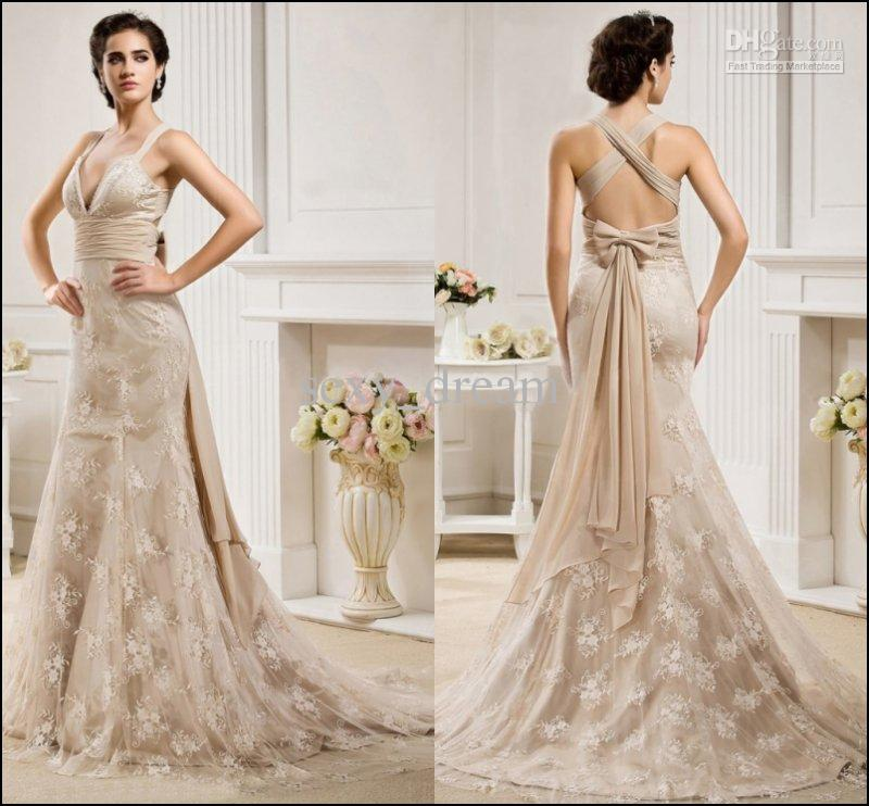 Champagne Wedding Dress: Champagne Lace Wedding Dress