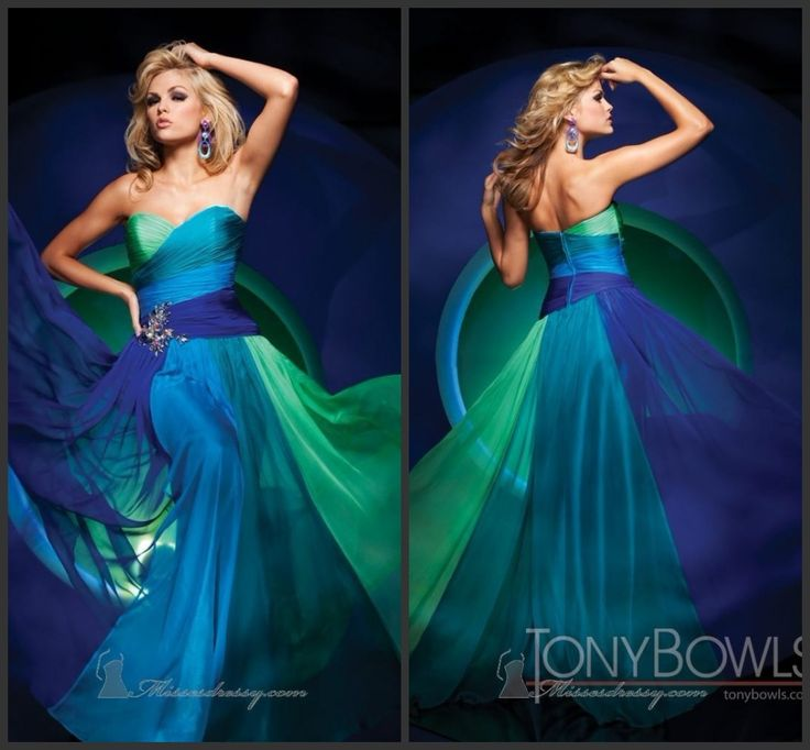 Blue green wedding dress weddings dresses for Green beach wedding dresses