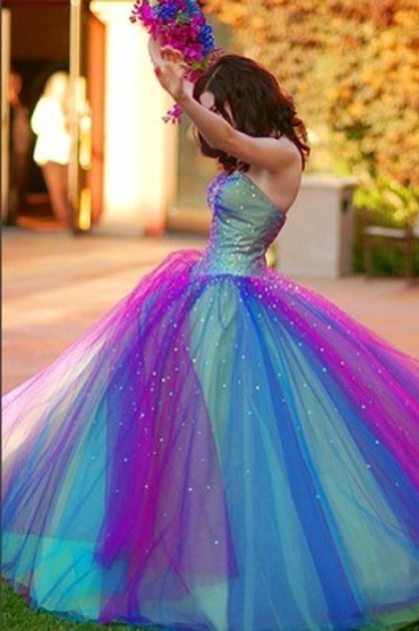 Blue And Purple Wedding Dresses On With Green