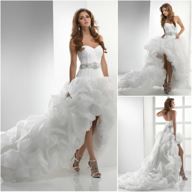 High Low Wedding Dress With Cowboy Boots