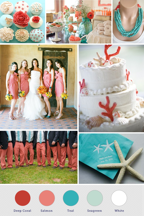 Coral And Pool Blue Weddings