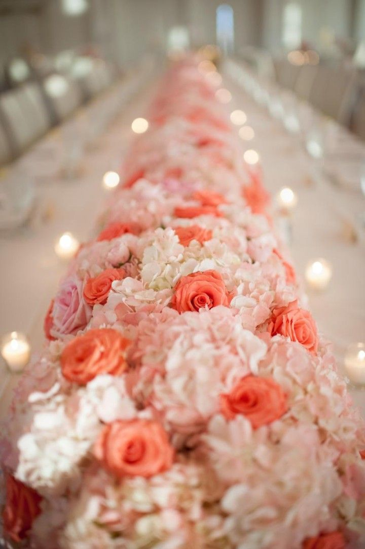 Coral Colored Wedding Centerpieces