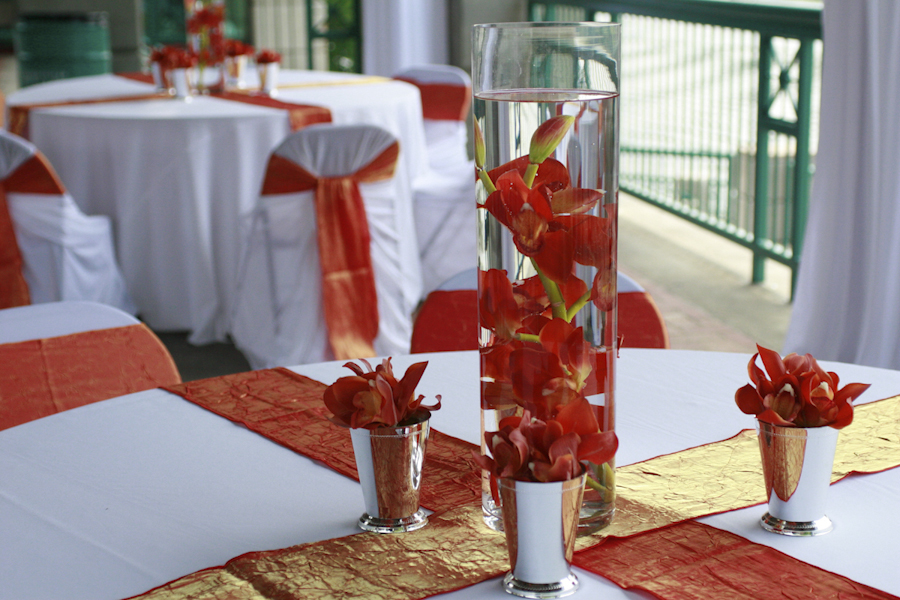 Lovely Coral Colored Wedding Centerpieces GA24