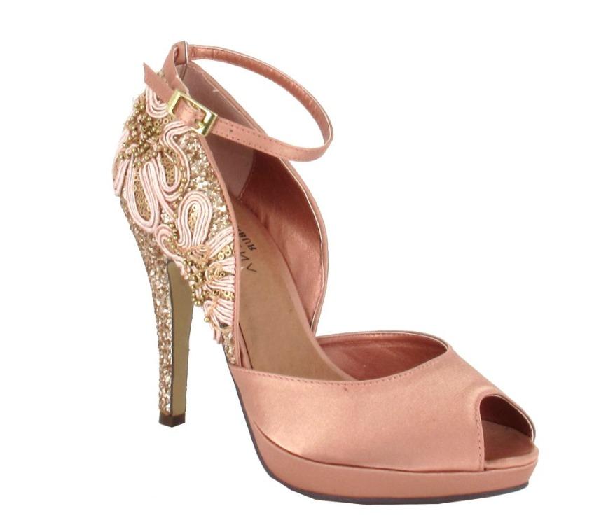 Crystal Embellished Platform Bridal Shoes In Gold, Black And Peach ...