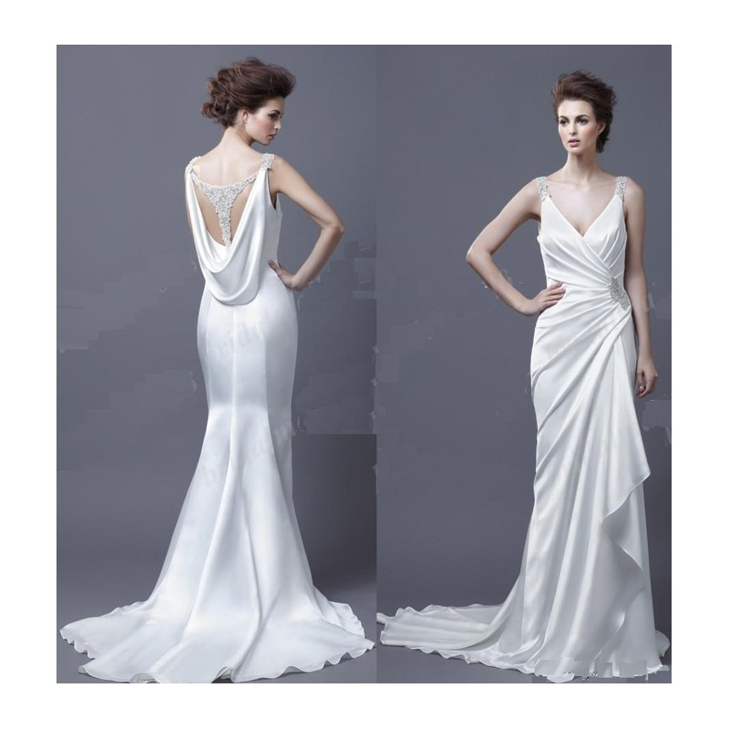 Wedding dress cowl back for Cowl back wedding dress