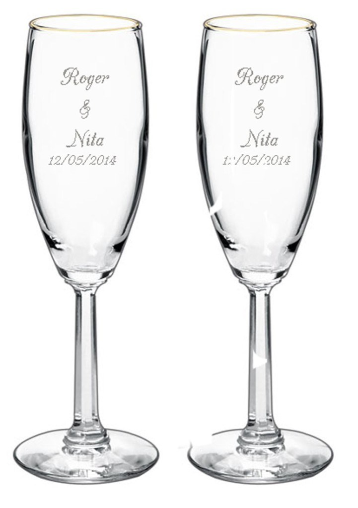 Wedding Gifts For Honeymoon: Wedding Flute Engraving Ideas