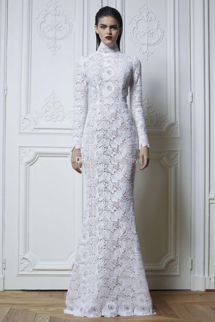 Long sleeve high neck wedding dress for Wedding dress high neck