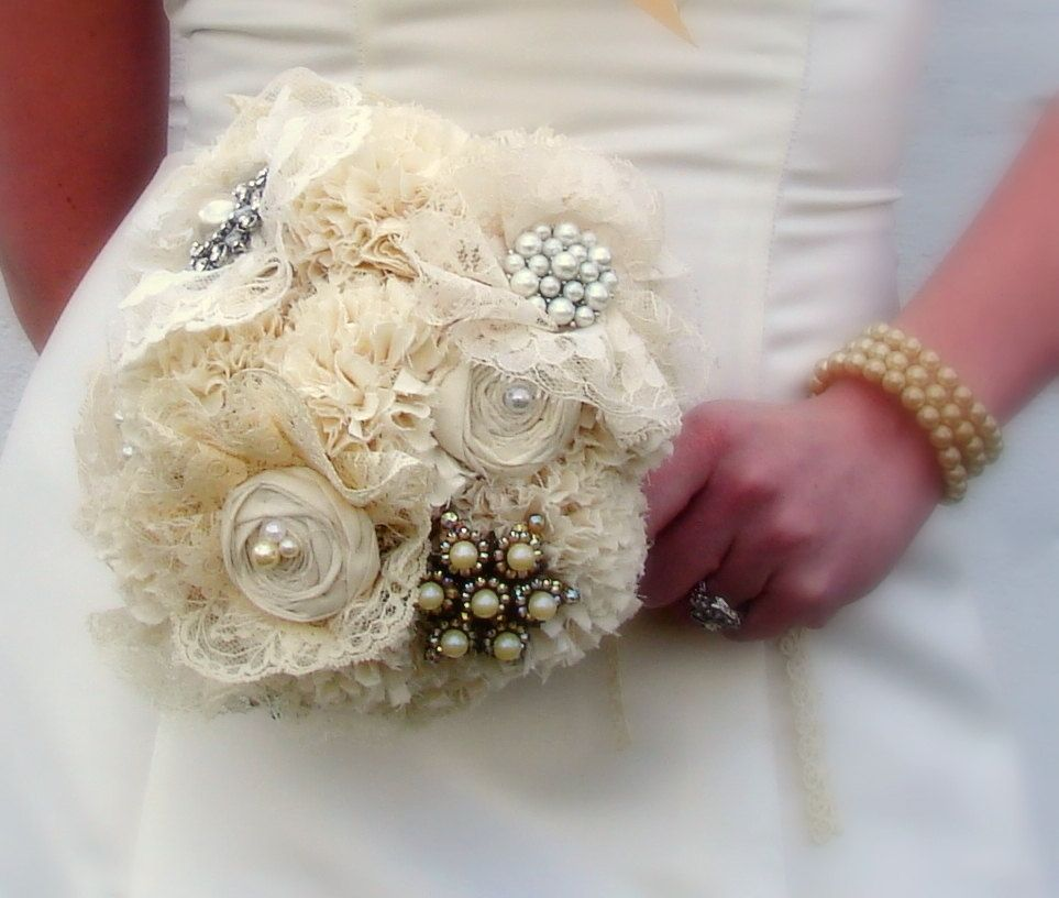 Hand Crafted Brooch Bridal Bouquet, Jewelry Bouquet, Fabric Flower ...