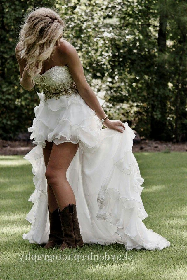 High low wedding dress with cowboy boots for Dresses to wear to a wedding with cowboy boots
