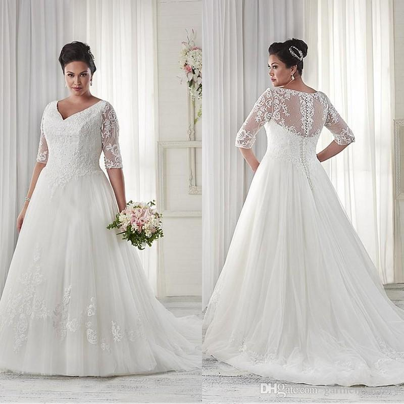 Wedding Dresses With Long Sleeves Plus Size Lady Wedding Dresses