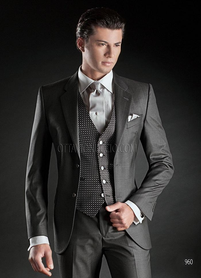 Italian Dark Grey Mens Wedding Suits 2017 Notched Lapel
