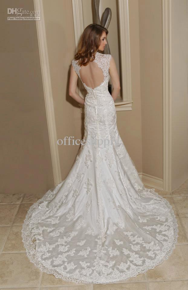 Lace Keyhole Back Wedding Dress
