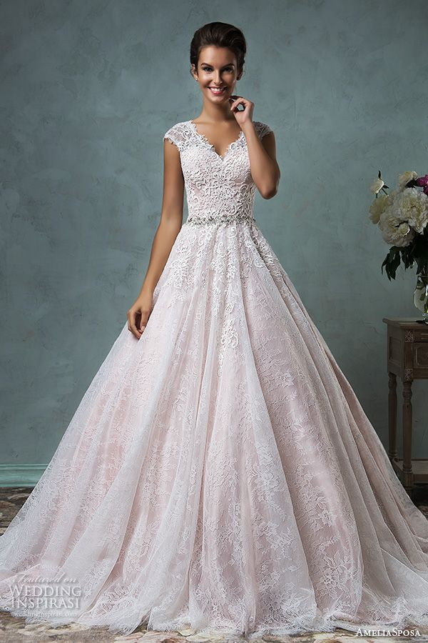 Lace and Pink Wedding Dress