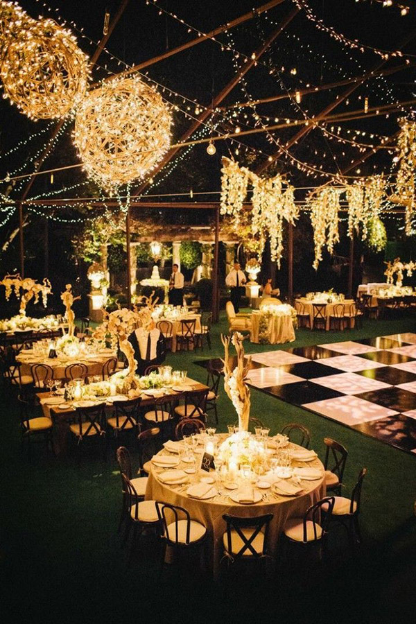 Lights Up Evening Wedding Reception Ideas For Rustic Themed