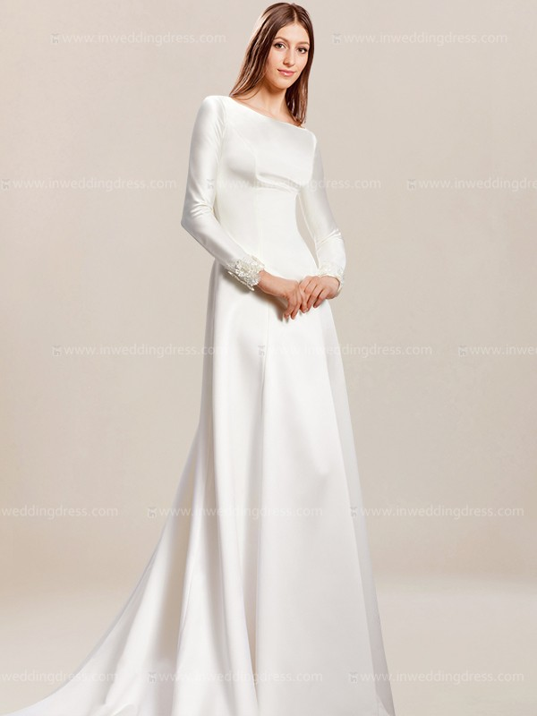 Simple wedding dress with sleeves for Simple long sleeve wedding dresses