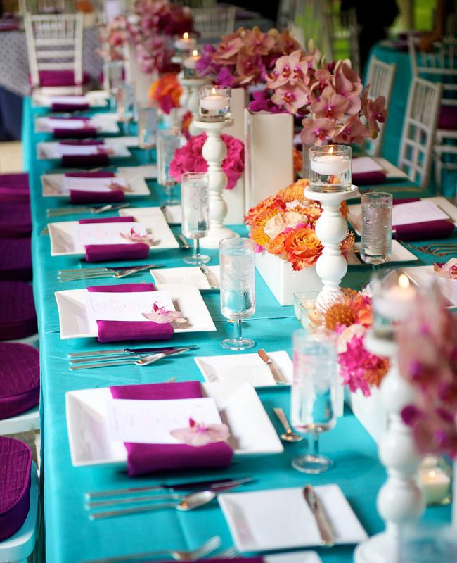 Aqua Blue And Purple Wedding