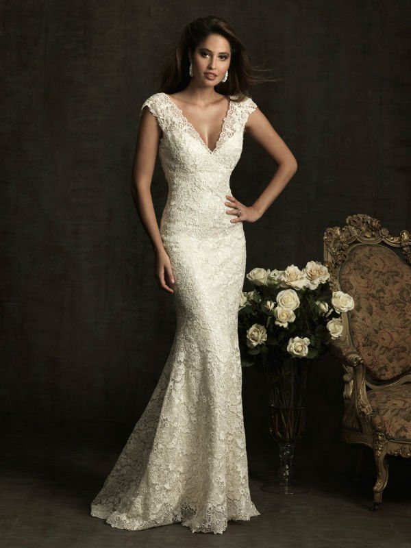 Beige Lace Wedding Dress