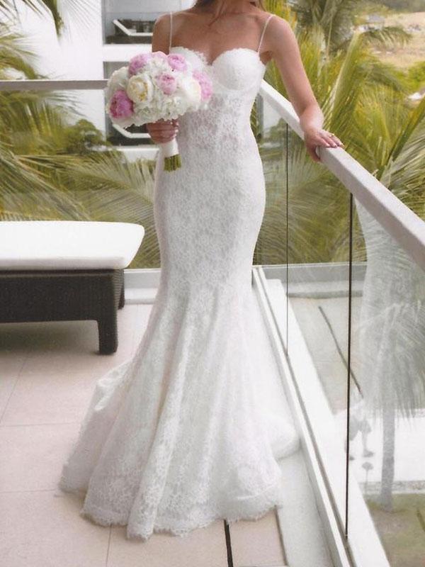 Patricia Customized Lace Overlay Wedding Dress With Spaghetti 80c9c93086eccd64d5df573afb4775