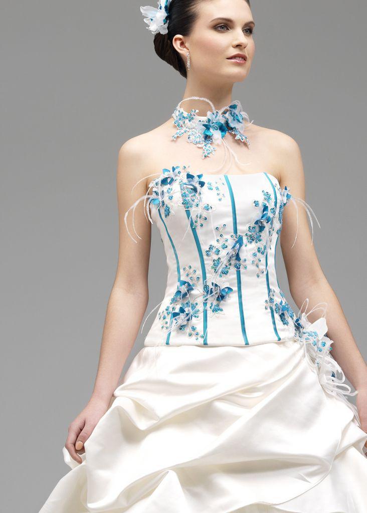 White And Sky Blue Wedding Dress
