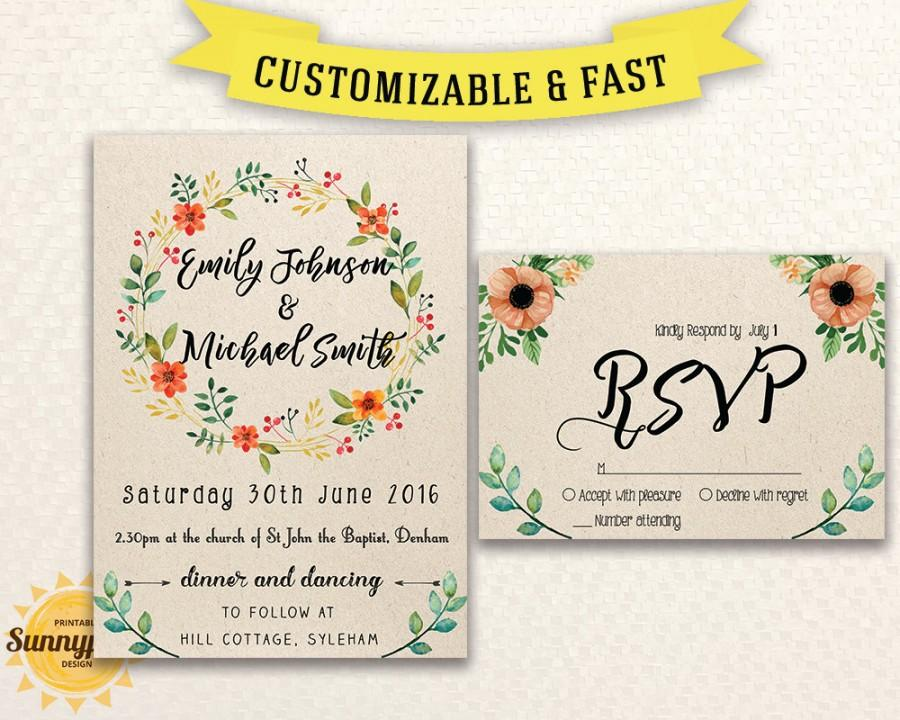 Free Download Wedding Invitation Template: Rustic Wedding Invitation Templates