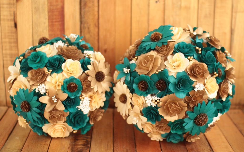 Teal flower arrangements for weddings for Reduce reuse recycle crafts