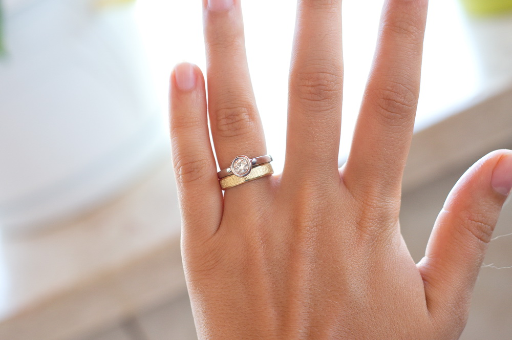 Mixed Yellow And White Gold Wedding Rings